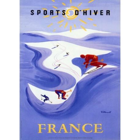 Affiche publicitaire dim : 50x70cm Sports d' hiver France