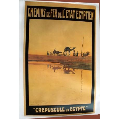 Affiche publicitaire 100x70cm : Chemin fer Etat Egyptien