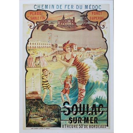 Affiche publicitaire dim : 50x70cm : Soulac Sur Mer