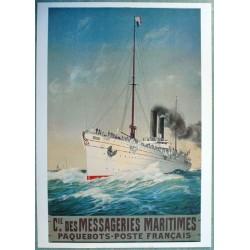 Affiche publicitaire dim : 50x70cm messagerie maritime poste paquebots français