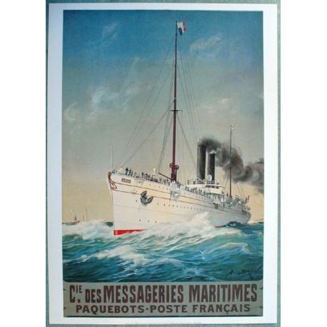 Affiche publicitaire dim : 50x70cm : Messageries maritimes poste paquebots français