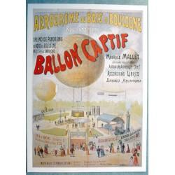 Affiche publicitaire dim : 50x70cm Ballon captif aerodrome bois boulogne