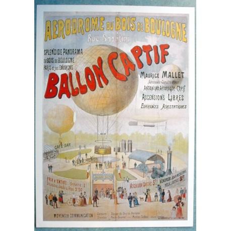 Affiche publicitaire dim : 50x70cm : Ballon captif aérodrome du bois de boulogne