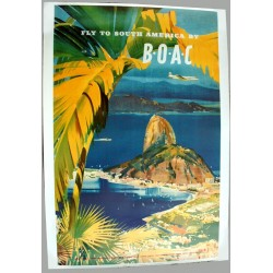 Affiche publicitaire 100x70cm fly to south america by boac