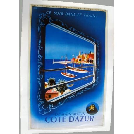Affiche publicitaire 50x70cm : Ce soir un train Côte d'Azur