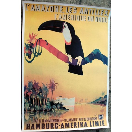Affiche publicitaire 100x70cm : Amazone by Hamburg-amérika line