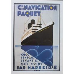 Affiche publicitaire dim : 50x70cm Compagnie de navigation Paquet