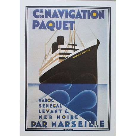 Affiche publicitaire dim : 50x70cm : Compagnie de navigation Paquet
