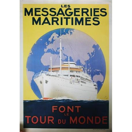 Affiche publicitaire dim 100x70cm :  Messageries Martimes monde