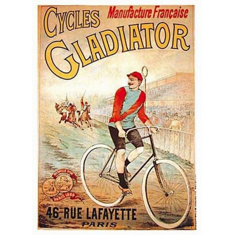 Affiche publicitaire dim : 23x33cm : Cycles GLADIATOR.