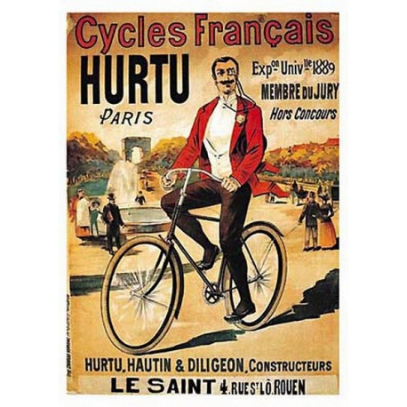 Pour votre décoration intérieure, Affiche publicitaire dim : 23x33cm : Cycles Hurtu