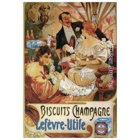 Pour votre décoration intérieure, Affiche publicitaire dim : 23x33cm :  Biscuits champagne Lefèvre Utile