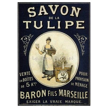 Affiche publicitaire dim : 24x30cm Savon La Tulipe(bordure)