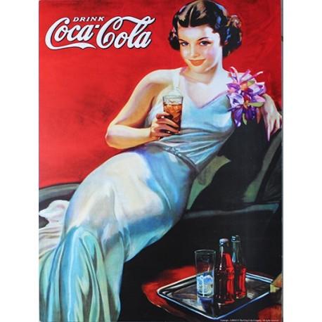 Affiche publicitaire dim : 24x32cm Pin-Up Coca Cola