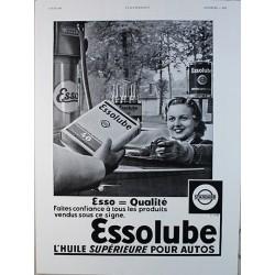 Affiche publicitaire N&B l'illustration dim : 26x36cm Huile Essolube