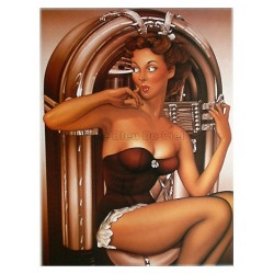 Poster 30x40cm sur papier photo mat  200 gr/m2 : Pin up juke box