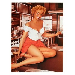 Poster 30x40cm sur papier photo mat 200 gr/m2 : Pin up Diner