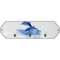 Accroche clés émaillé petit format, décor dauphin