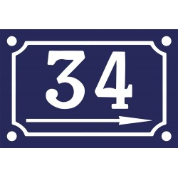 Numéro émaillé10 x 15 cm,Flèche vers la droite.