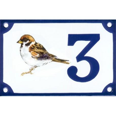 Numéro de rue émaillé 10 x 15 cm décor Moineau.