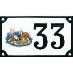 Numéro de rue émaillé 10 x 15 cm : Grenouille