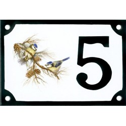 Numéro de rue émaillé 10 x 15 cm : Mésanges