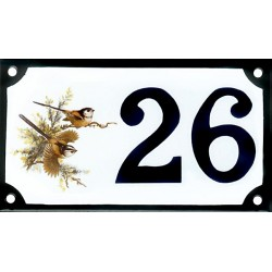 Numéro de rue émaillé 10 x 15 cm : Mésange longue queue.