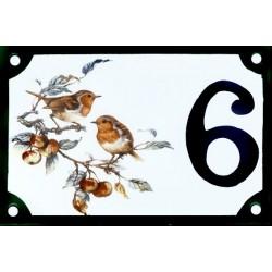 Numéro de rue émaillé 10 x 15cm : Rouge Gorge