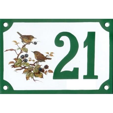 Numéro de rue émaillé 10 x 15 cm : Oiseaux