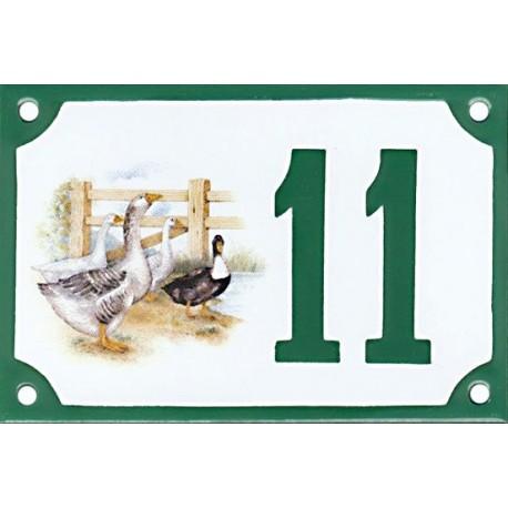 Numéro de rue émaillé 10 x 15 cm : Oies