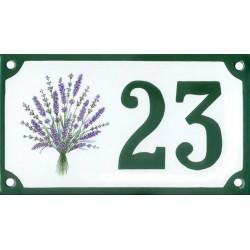 Numéro de rue émaillé 10 x 15 cm : Bouquet de Lavande