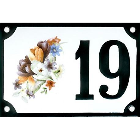 Numéro de rue émaillé 10 x 15 cm : Crocus