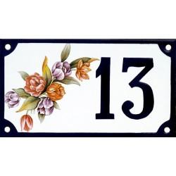 Numéro de rue émaillé 10 x 15 cm : Bouquet de Fleurs