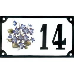 Numéro de rue émaillé 10 x 15 cm : Fleur bleue