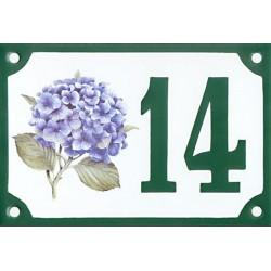 Numéro de rue émaillé 10 x 15 cm : Hortensias bleus