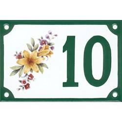 Numéro de rue émaillé 10 x 15 cm : Lys