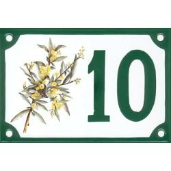 Numéro de rue émaillé 10 x 15 cm : Mimosa