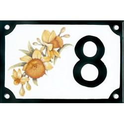 Numéro de rue émaillé 10 x 15 cm : Narcisses