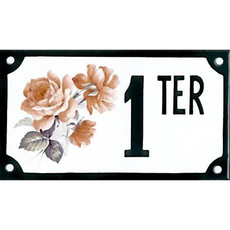 Numéro de rue émaillé 10 x 15 cm : Rose Pénélope