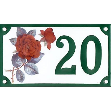 Numéro de rue émaillé 10 x 15 cm : Rose rouge