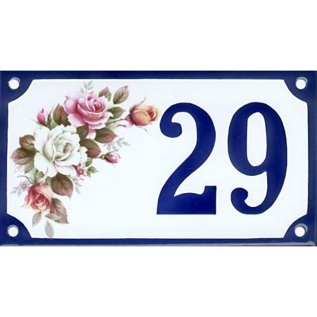 Numéro de rue émaillé 10 x 15 cm : Roses