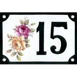 Numéro de rue émaillé 10x 15 cm : Roses bicolores
