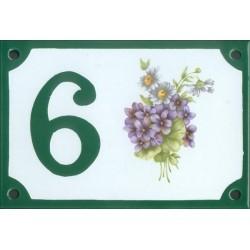 Numéro de rue émaillé 10 x 15 cm : Violettes