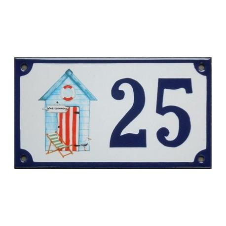 Numéro de rue émaillé 10 x 15 cm : Cabine de plage bleue.