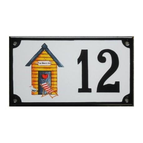 Numéro de rue  émaillé 10 x 15 cm : Cabine de plage