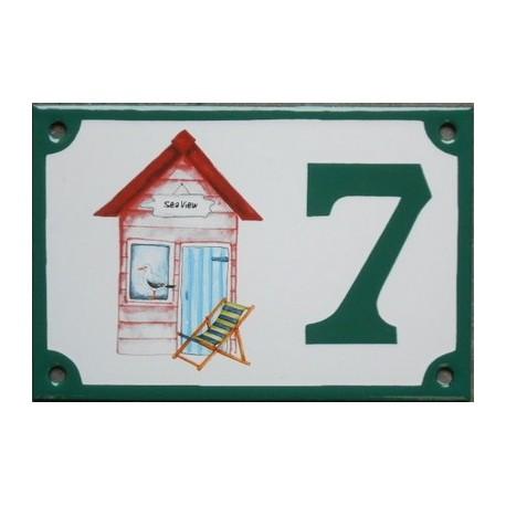 Numéro de rue émaillé 10 x 15 cm : Cabine de plage rouge