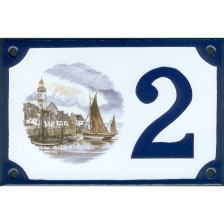 Numéro de rue  émaillé 10 x 15 cm : Loctudy