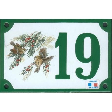 Numéro de rue émaillé 10 x 15 cm : Roitelet Huppé