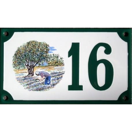 Numéro de rue émaillé 10 x 15 cm : Décor de Provence