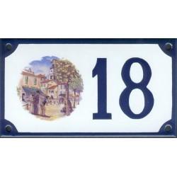 Numéro de rue émaillé 10 x 15 cm : Provence pétanque